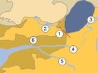 Británie a Francie před 200-450 tisíci lety. Žlutou barvou je vyznačena souš, která se nezměnila ani po záplavách; světle béžové je území, které v té době bylo pokryto ledovcem; hnědé jsou části, které se v současnosti nacházejí pod vodou; červená šipka ukazuje směr proudu, který protrhl hráz; tmavě modrá barva je ledovcové jezero, světle modrá – Atlantik. 1 – pohoří Veld-Artois. Řeky: 2 – Temže, 3 – Rýn, 4 – Somma, 5 – Seina, 6 – Solent.