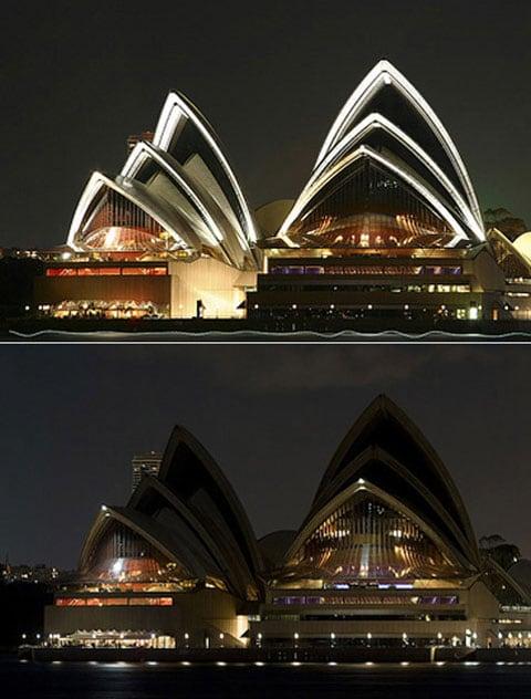 Budova Opery v Sydney 1. dubna před vypnutím světla a po vypnutí
