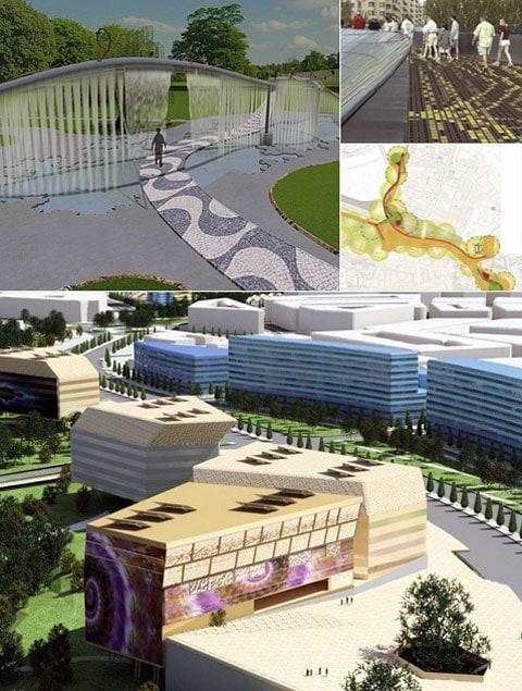 """""""Digitální míle Zaragozy"""":  """"živá"""" vodní stěna, interaktivní pěšinka pro chodce a celá řada moderních budov."""