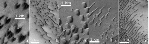 Duny na Marsu se vzájemně velmi liší. Zde jsou některé modifikace