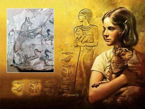 Egyptská kočka domácí ochraňuje husy. Vlevo freska z roku 1120 před našim letopočtem.