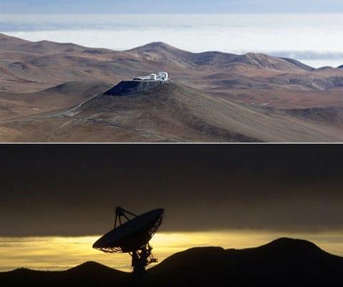 «Hrdinové», díky kterým se podařilo «rozčlenit» vnitřní strukturu S Ori: nahoře – observatoře v poušti v Chille, kde se nachází VLTI, dole – jeden z teleskopů VLBA, který je v Novém Mexiku.