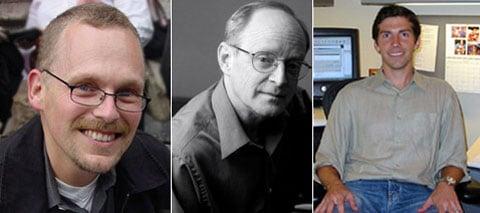 Mužská část skupiny psychologů, zleva doprava:  Mehl,  Pennebaker, Slatcher. S ženskou sestavou se seznámíme později