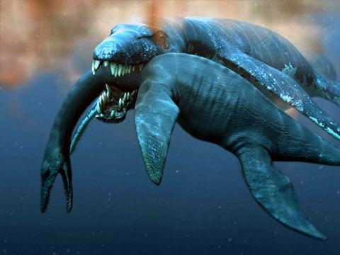 Na obrázku si pliosaurus ke svačince dává plesiosaura