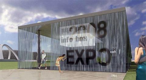 """Návštěvník výstavy prochází skrz stěnu pavilonu, která se za jeho zády bleskově vrací do původní podoby. Musíme říct, že """"zelené téma"""" budovy bude podporováno i tím, že v budově nebude klimatizace: vzduch se bude ochlazovat vypařující se vodou."""