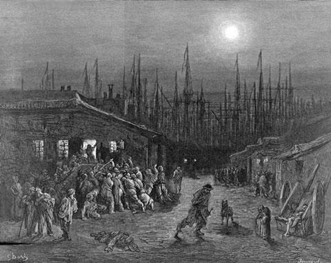Noční pohled na londýnský přístav. Nejde nevzpomenout tento sympatický obraz z roku 1887 v momentě, kdy se na Londýn spustila tma.