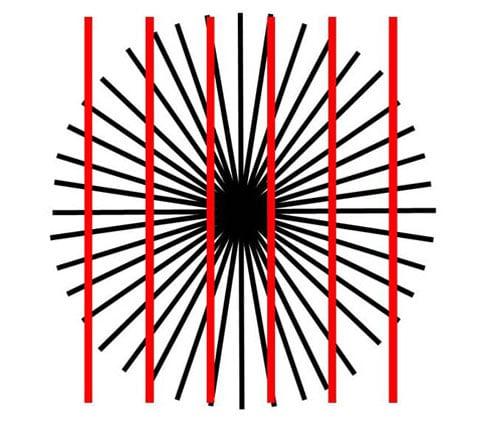 Pokud zaostříte na střed obrázku, pak linie, které jsou blíž k bodu, ve kterém se paprsky sbíhají, vypadají jako zakřivené