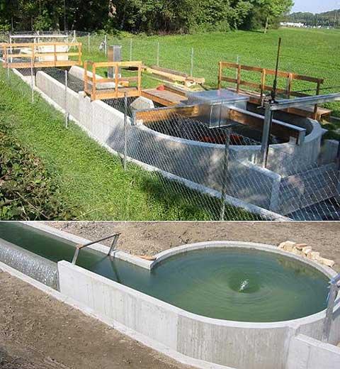 Průměr bazénu s vodním vírem je 5,5 metrů. Maximální výška přepadu vody dosahuje 1,6  metrů. Na fotografii je ještě nedostavěná elektrárna
