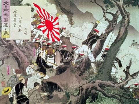 Scéna z první japonsko-čínské války (od r. 1894 do r.1895), která mimochodem probíhala hlavně na území Korey