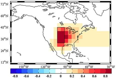 Snížení úrovně srážek, získané na modelu. Obdélníkem je vyznačeno osm čtverců, ve kterých počítačový experiment objevil dříve neznámé zdroje prachu. V jednotlivých letech ztráty horní vrstvy půdy v Prašném kotli dosáhly 770 miliónů tun.