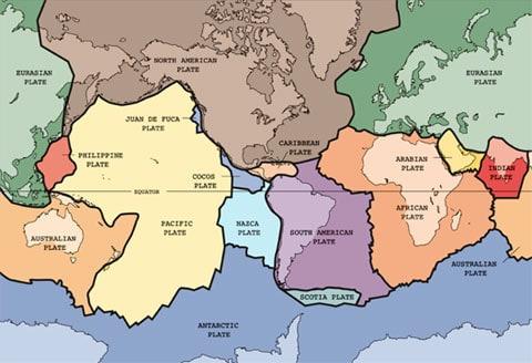 Současná mapa litosférických desek