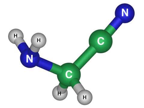 Struktura aminoacetonitrilu. Jeho vzorec je NH<sub>2</sub>CH<sub>2</sub>CN