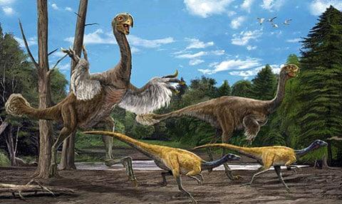 Umělec, kterého požádali vyobrazit jednoho jediného gigantoraptora, se tak rozrušil, že namaloval hned celý zvěřinec