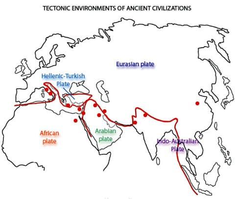V důsledku střetu kontinentálních tektonických desek vznikla mohutná zvrásněná oblast, do které v současnosti patří Pyreneje, Alpy, Apeniny, vulkán Etna, Karpaty, Kavkaz, Pamír, Himaláje. Červenými body jsou na mapě vyznačeny civilizace.