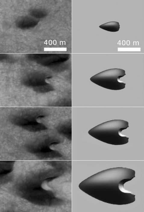 Vlevo jsou snímky dun v různých stádiích vývoje v marťanském kráteru Archangelský, vpravo je počítačový model duny v různých etapách dynamiky.