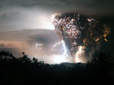 výbuch hory Chaiten v Čile z roku 2008